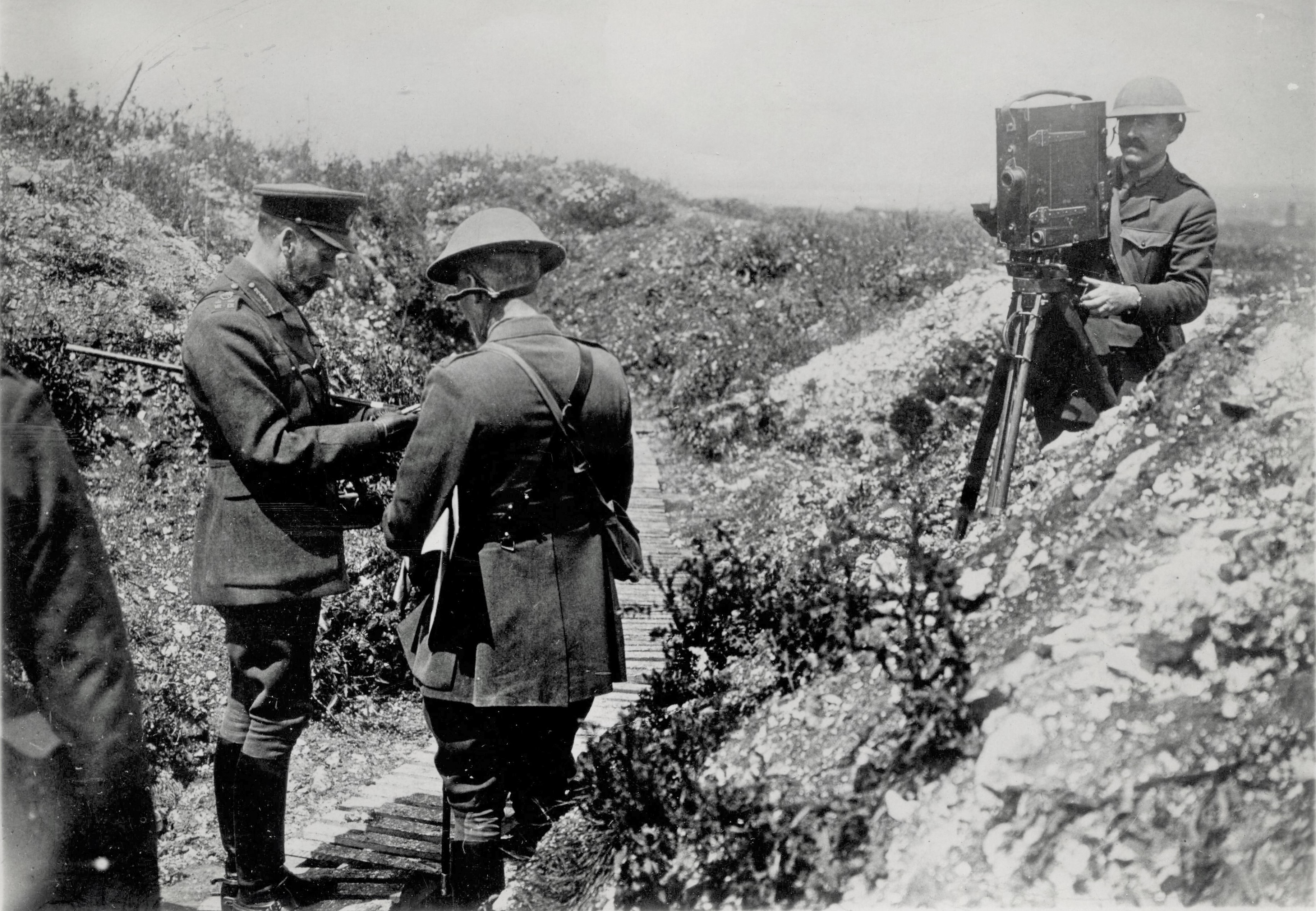 J B McDowell filming in trenches with George V edit